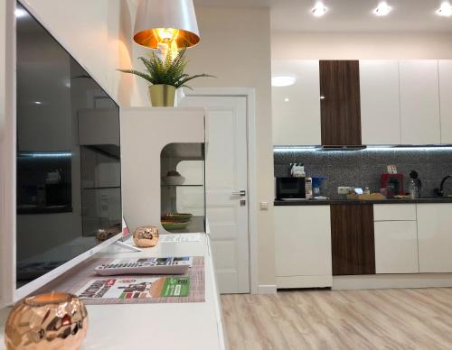 A kitchen or kitchenette at Polo Apartments near Spartak Stadium and Crocus Expo