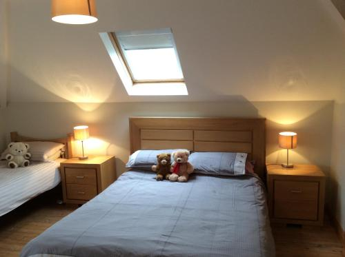 A bed or beds in a room at Mount Leinster View