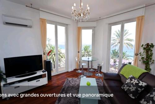 A seating area at Sea view - NICE - Promenade des anglais - 100m2 - 3 bedrooms - 6 persons - Standing