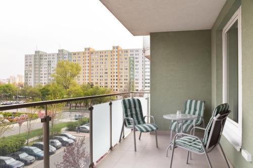Balkón alebo terasa v ubytovaní Great tourist and business Apartment near center