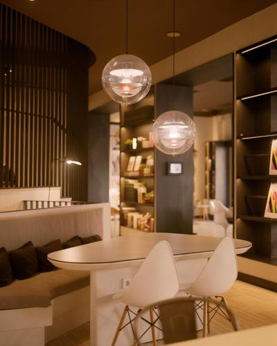 The lounge or bar area at Pol & Grace Hotel