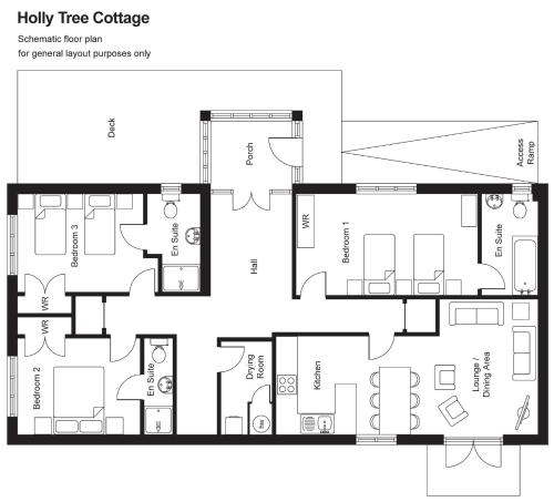 The floor plan of Holly Tree Cottage