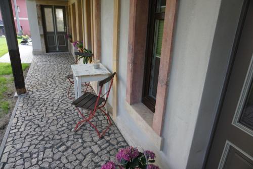 Ein Balkon oder eine Terrasse in der Unterkunft Ferienhaus Lusatia am Töpfer