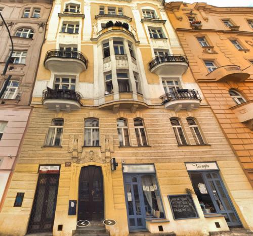 Cozy 1 room apartment in the center. Fully furnished, air conditioning, fireplace, breakfast! 3min walk to river Vltava. 4 min walk to Dancing house. 15min walk to Wenceslas Square. Dittrichova street № 5, Nove Mesto, Prague 2.