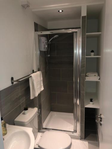 A bathroom at D-6 Studios