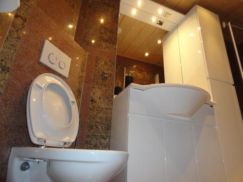 A bathroom at Gary loving apartment