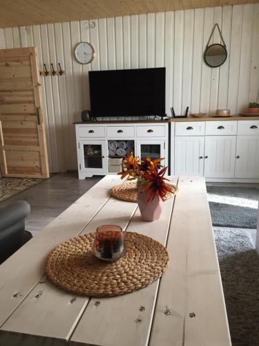 TV a/nebo společenská místnost v ubytování Chata Lužná