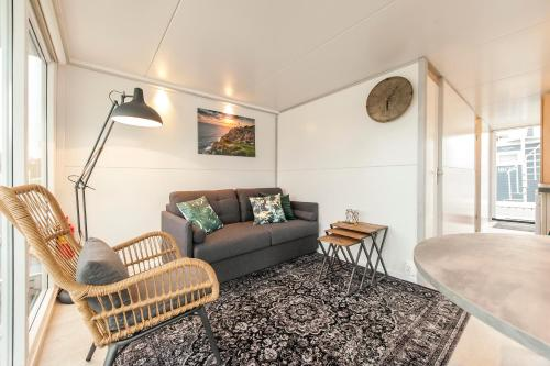 A seating area at Tiny floating house Ibiza