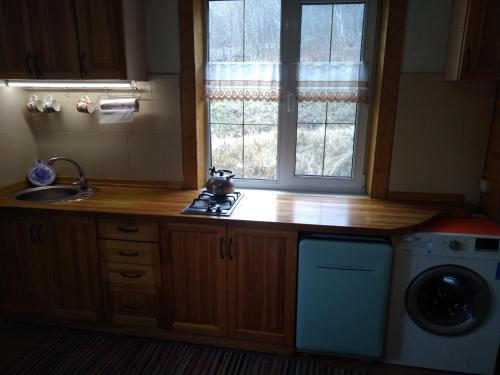 Кухня или мини-кухня в Swiss Chalet in Kamchatka