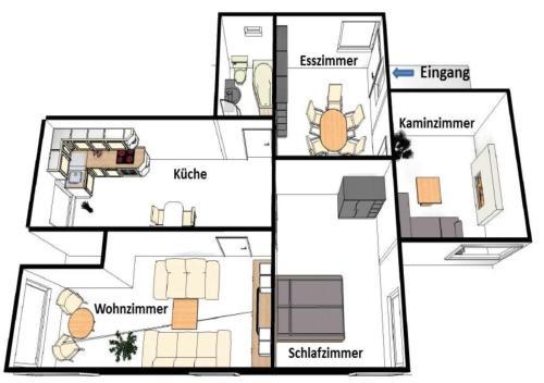 Grundriss der Unterkunft Ferienwohnung Deutschmann