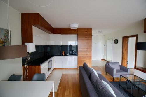 A kitchen or kitchenette at Poznań Apartments Towarowa