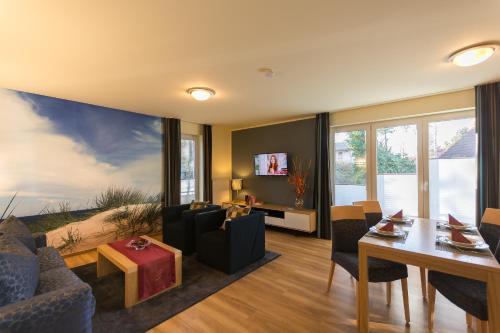 Posezení v ubytování Apartmenthaus Kleiner Falke