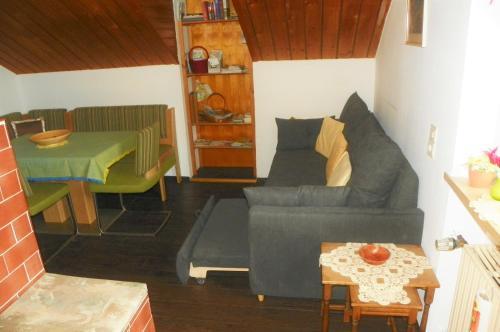 Ein Sitzbereich in der Unterkunft Ferienwohnung am Weissenstädter See