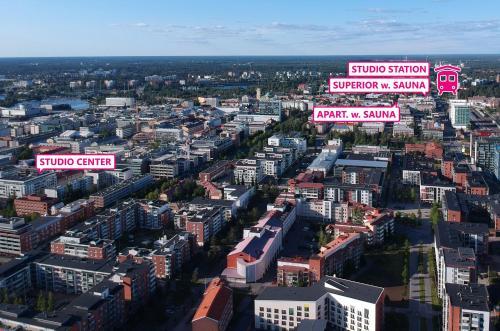 Vue panoramique sur l'établissement Oulu Hotelli Apartments