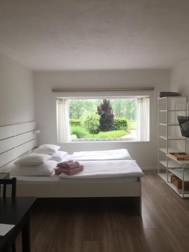 Postel nebo postele na pokoji v ubytování Studiový apartmán V Zahradě