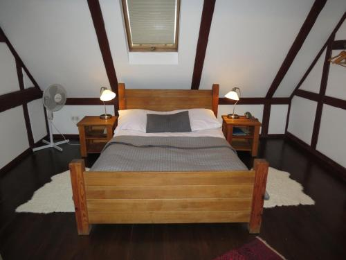A bed or beds in a room at The Blue Beetroot