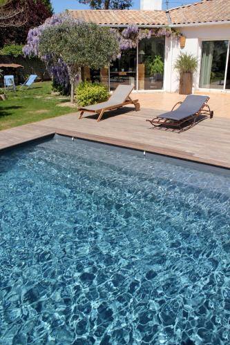 The swimming pool at or near Le Clos des Romarins