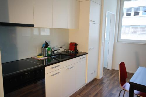 A kitchen or kitchenette at HITrental Badenerstrasse Apartments