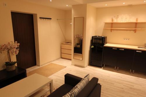 A kitchen or kitchenette at Tallinn City Center Apartment