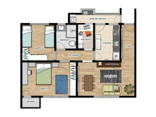 The floor plan of Apartamento Redenção