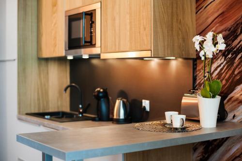 A kitchen or kitchenette at Prestige Apartments Wola Kolejowa