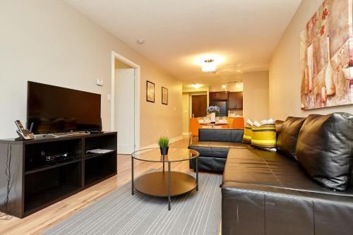 Et opholdsområde på Atlas Suites Wellington - Furnished Apartments