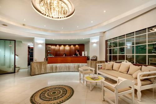 The lobby or reception area at Elina Hotel Apartments