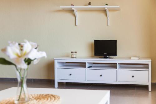Uma TV ou centro de entretenimento em RVHotels Apartamentos El Quijote