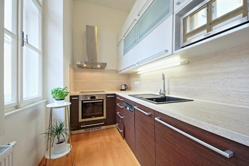 A kitchen or kitchenette at Christi Apartment