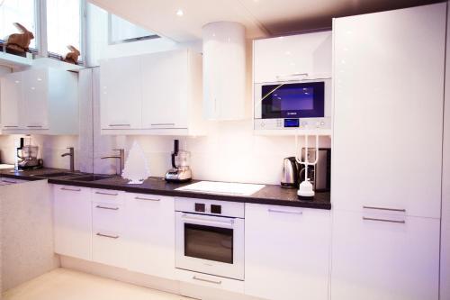 A kitchen or kitchenette at Stylish,luxury duplex Paris city center
