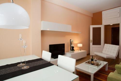 A television and/or entertainment center at Apartamentos Madrid Plaza