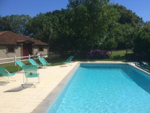 The swimming pool at or near Chateau De Piedouault