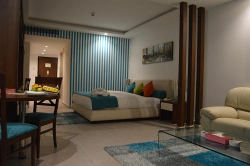 A seating area at Markazia Suites