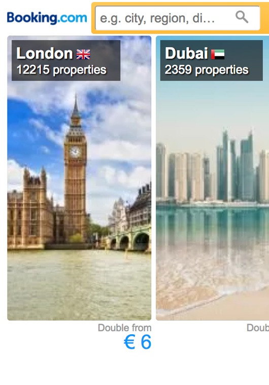 Inspiring search box showing images of London, Dubai, and Sydney