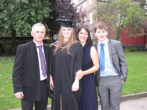 Durance family picture. Julia Paul Lauren and Tom at Lauren's graduation!